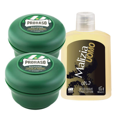 PRORASO Rasierseife Tiegel 2x 150 ml + Malizia Gold After Shave 100ml