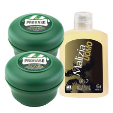 PRORASO Rasierseife Tiegel 2x 150 ml + Malizia Gold After...