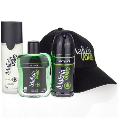 Malizia Uomo Vetyver SET - EdT + After Shave + Deodorant + Cap